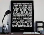 How Deep Is Your Love - Song Lyrics Typography Bee Gees Tribute - PRINTED music Art bedroom office lounge home decor