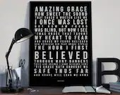 Amazing Grace - Song Lyrics Typography Traditional Gospel Song - PRINTED music Art bedroom office lounge home decor