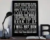 I Will Not Bow - Song Lyrics Typography Breaking Benjamin Tribute - PRINTED music Art bedroom office lounge home decor