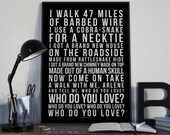 Who Do You Love - Song Lyrics Typography Bo Diddley Tribute - PRINTED music Art bedroom office lounge home decor