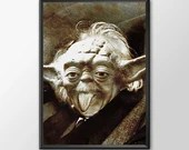 Star Wars Art - Alternative Universe 7 - Yoda Einstien  - Boys and girls Geek man woman cave nerds bedroom office