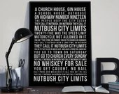 Nutbush City Limits - Song Lyrics Typography Tina Turner Tribute - PRINTED music Art bedroom office lounge home decor