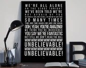 WOW - Song Lyrics Typography Kate Bush Tribute - PRINTED music Art bedroom office old style lounge kitchen home decor
