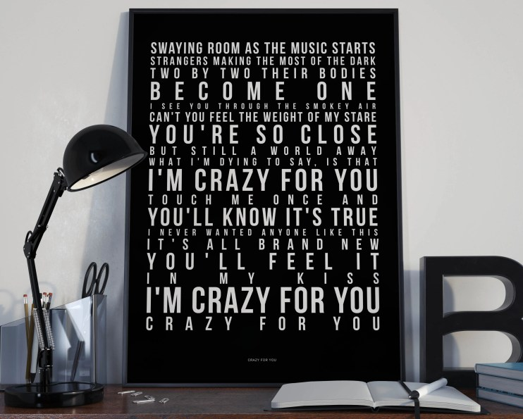 Crazy For You - Song Lyrics Typography Madonna Tribute - PRINTED music Art bedroom office lounge home decor