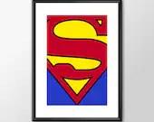 The Superman Logo - PRINTED comic book style for the Big Boys Geek man cave nerds bedroom office kids nursery superhero dc comics