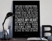 I Cross My Heart - Song Lyrics Typography George Strait Tribute - PRINTED music Art bedroom office lounge home decor