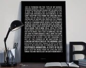 Learning to Fly - Song Lyrics Typography Pink Floyd Tribute - PRINTED music Art bedroom office lounge home decor