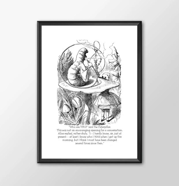 Who Are You - PRINTED Traditional Alice In Wonderland Art Classic kids bedroom office nursery old style lounge kitchen home decor