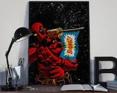 Deadpool 2018 - V3 - PRINTED comic book style for the Big Boys Geek man cave nerds bedroom office kids nursery superhero marvel comics
