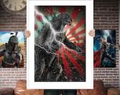 Godzilla PRINTED  for the Big Boys Geek man cave nerds bedroom office kids nursery superhero marvel comics avengers