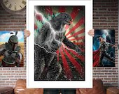 Godzilla PRINTED  for the Big Boys Geek man cave nerds bedroom office kids nursery superhero marvel comics avengers