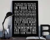 The First Time Ever I Saw Your Face - Song Lyrics Typography Roberta Flack Tribute - PRINTED music Art bedroom office lounge home decor