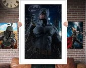 Batman PRINTED  for the Big Boys Geek man cave nerds bedroom office kids nursery superhero marvel comics avengers
