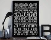Simple Man - Song Lyrics Typography Lynyrd Skynyrd Tribute - PRINTED music Art bedroom office lounge home decor