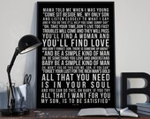 Simple Man - Song Lyrics Typography Lynyrd Skynyrd Tribute - PRINTED music Art bedroom office lounge home decor