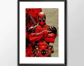 Deadpool - PRINTED comic book style for the Big Boys Geek man cave nerds bedroom office superhero marvel comics