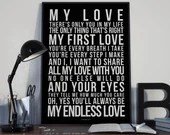 Endless Love - Song Lyrics Typography Lionel Richie Tribute - PRINTED music Art bedroom office lounge home decor