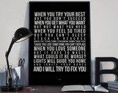 Fix You - Song Lyrics Typography Coldplay Tribute - PRINTED music Art bedroom office lounge home decor