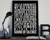 Sound Of Silence - Song Lyrics Typography Simon & Garfunkle Tribute - PRINTED music Art bedroom office lounge home decor