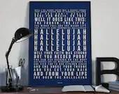 Hallelujah - Song Lyrics Typography Leonard Cohen Tribute - PRINTED music Art bedroom office lounge home decor