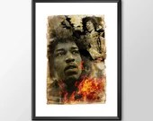 Jimi Hendrix Music Tribute  - Original Digital Art - PRINTED for Boys and girls Geek man woman cave nerds bedroom office kids