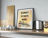 Family Starts Here - A fun kitchen wall print to frame for Mum or New Family - PRINTED