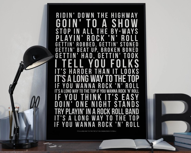 A Long Way To The Top - Song Lyrics Typography ACDC Tribute - PRINTED music Art bedroom office lounge home decor