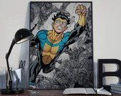 Invincible - - PRINTED comic book style for the Big Boys Geek man cave nerds bedroom office kids nursery superhero image comics