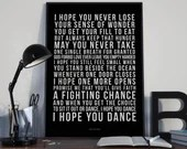 I Hope You Dance - Song Lyrics Typography Lee Ann Womack Tribute - PRINTED music Art bedroom office old style lounge kitchen home decor