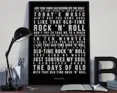 Old Time Rock 'N' Roll - Song Lyrics Typography Bob Seger Tribute - PRINTED music Art bedroom office lounge home decor