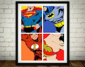 4 Superheros - PRINTED comic book style for the Big Boys Geek man cave nerds bedroom office kids nursery superhero dc comics