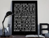 Home - Song Lyrics Typography Edward Sharpe and the Magnetic Zeros Tribute - PRINTED music Art bedroom office lounge home decor