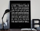 Love Is All Butterfly Ball - Song Lyrics Typography  Tribute - PRINTED music Art bedroom office old style lounge kitchen home decor