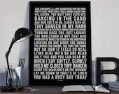 Tiny Dancer - Song Lyrics Typography Elton John Tribute - PRINTED music Art bedroom office lounge home decor
