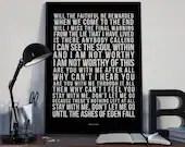Ashes Of Eden - Song Lyrics Typography Breaking Benjamin Tribute - PRINTED music Art bedroom office lounge home decor