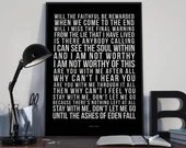 Ashes Of Eden - Song Lyrics Typography Breaking Benjamin Tribute - PRINTED music Art bedroom office lounge home decor