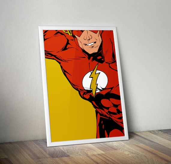 The Flash - Classic Superhero Tribute Comic style for the Big Boys Geek kids man cave nerds bedroom office nursery superhero dc comics