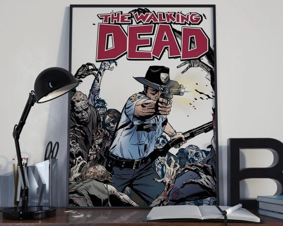 Walking Dead Comic Book Art 3 - Classic Rick Comic Book Cover Art Cover for the Big Boys Geek man cave nerds bedroom office