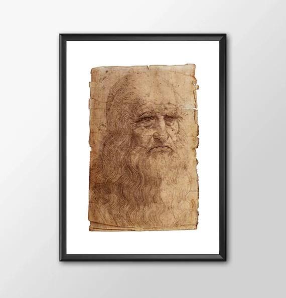Da Vinci Self Portrait - Leonardo Da Vinci Tribute kids bedroom office nursery old style lounge kitchen man cave