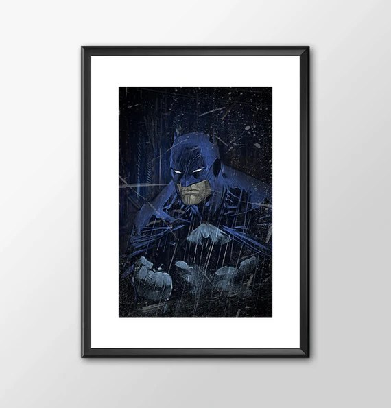 The Batman - Jim Lee Batman comic book style for Boys Geek man cave nerds bedroom office kids nursery superhero dc comics