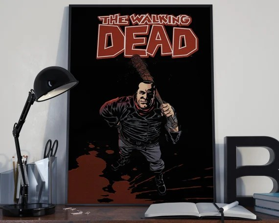 Walking Dead Comic Book Art 4 - Classic Negan Comic Book Cover Art Cover for the Big Boys Geek man cave nerds bedroom office