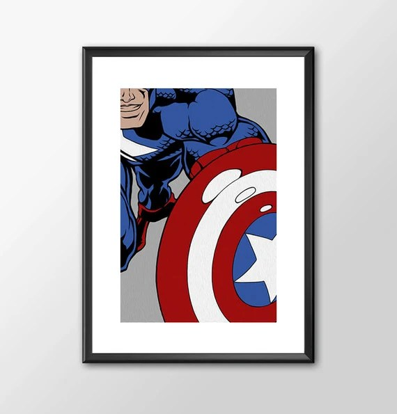 Captain America - comic book style for the Big Boys Geek man cave nerds bedroom office kids nursery superhero dc comics