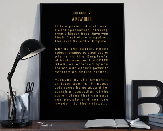 A New Hope Episode IV Opening Crawl Star Wars Tribute for the Big Boys Geek man cave nerds bedroom office kids