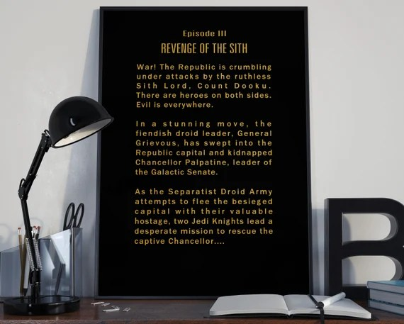 Revenge Of The Sith Episode III Opening Crawl Star Wars Tribute for the Big Boys Geek man cave nerds bedroom office kids