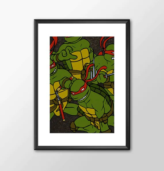 Ninja Turtles Original Eastman & Laird Version comic book style for the Big Boys Geek man cave nerds bedroom office kids nursery
