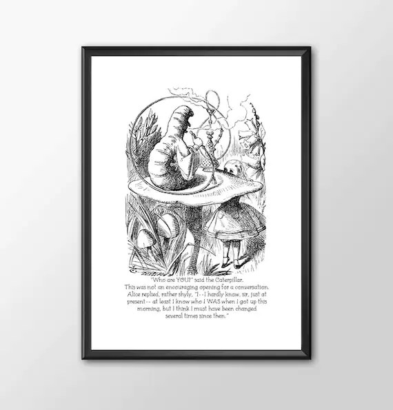 Who Are You - Traditional Alice In Wonderland Art Classic kids bedroom office nursery old style lounge kitchen home decor