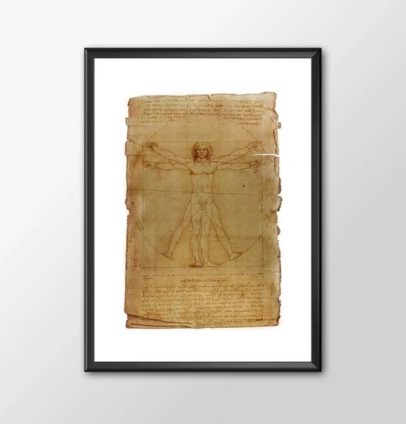 Da Vinci Vitruvian Man - Leonardo Da Vinci Tribute Art Classic kids bedroom office nursery old style lounge kitchen home decor