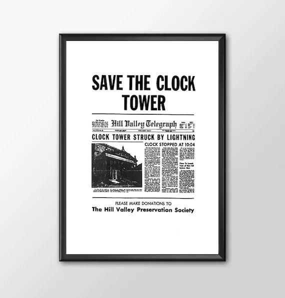 Save The Clock Tower Version 2 - Back To The Future  for the Big Boys Geek man cave nerds bedroom office kids