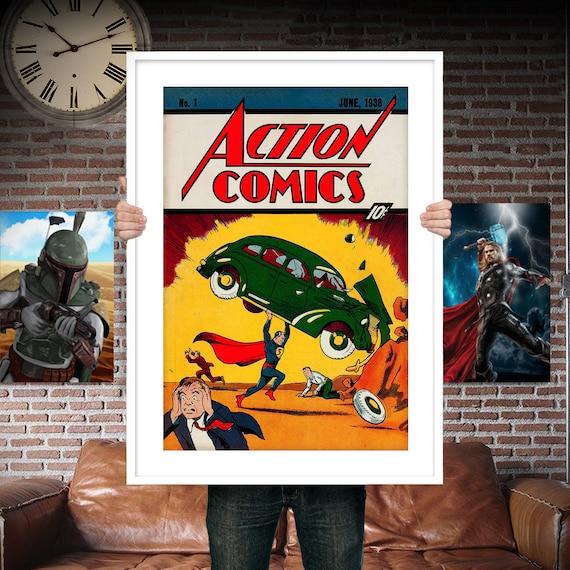 Classic Superman First Appearance - Comic Book Cover Boys Geek kids man cave nerds bedroom office nursery superhero