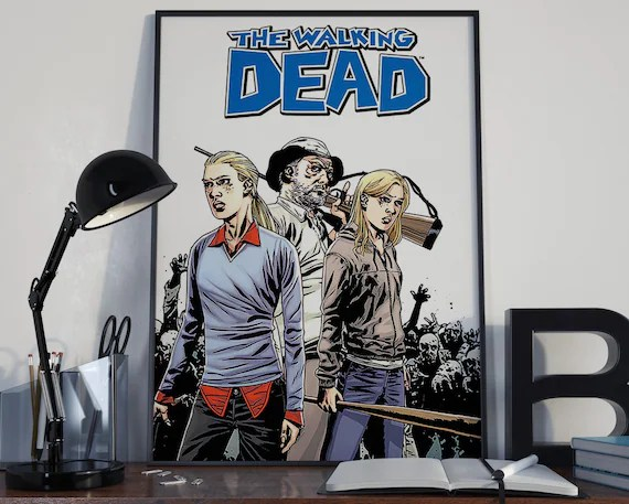 Walking Dead Comic Book Art 11 b Classic Comic Book Cover Art Cover for the Big Boys Geek man cave nerds bedroom office